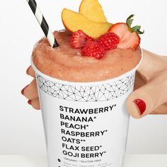 Asked & Answered: Everything You Need To Know About Daily Harvest Smoothie Drinks, Smoothie Recipes, Diabetic Smoothies, Daily Harvest Smoothies, Strawberry Peach Smoothie, Good Food, Yummy Food, Wedding Sweets, Beautiful Wedding Cakes