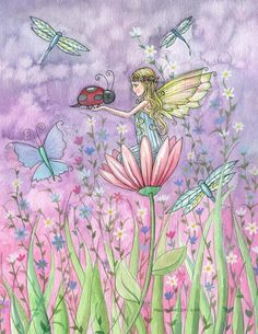 Fairy and Ladybug Art by Molly Harrison - A Friendly Encounter