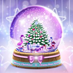Merry Christmas & Happy New Year christmas merry christmas christmas pictures christmas quotes christmas images christmas photos merry christmas gifs Christmas Snow Globes, Christmas Tree With Gifts, Purple Christmas, Christmas Night, Christmas Pictures, Christmas Cards, Christmas Decorations, Christmas Tables, Coastal Christmas