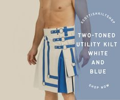 💙🤍Wednesday are for fresh starts💙🤍 Add the charm in your personality with Two-Toned Utility Kilt White And Blue Tap on the link to shop! #scottishkiltshop #twotonedutilitykilt #scottishkilt #kilt #kiltshop #scottish #mensfashion #malestyle #kiltedmen #pinterest #pinterestinspired