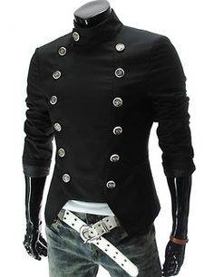 Winter's Fashion Stand Collar Long Sleeve Double Breasted Open Hem Slim Fitted Blazer for Men, Fashion Style Coats & Jackets Casual Suit, Men Casual, Smart Casual, Mode Man, Slim Fit Jackets, Blazer And Shorts, Men Shorts, Steampunk Clothing, Blazers For Men