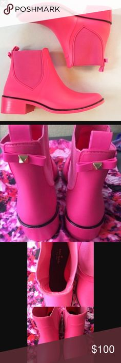 """NEW Kate Spade Hot Pink Boots Size 8/9. Hot pink Rainboots. You NEED these! Reasonable Offers encouraged and welcomed! These are 1.2"""" heel made with rubber with elastic and rubber heel. Made in Brazil. Pull on back tab. Water resistant. kate spade Shoes Ankle Boots & Booties"""