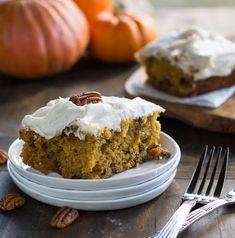 Pumpkin chocolate chip bars--a moist, delicious alternative to pumpkin pie. #friendsgiving #partycrafters #thanksgiving