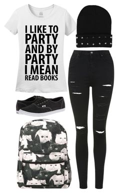 """""""I Like To Party And By Party I Mean Read Books"""" by samantha-hannum ❤ liked on Polyvore featuring Topshop and Vans"""