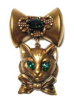 RARE Vintage Joseff of Hollywood Sculpture Figural Cat Feline Bow Drop Brooch | eBay