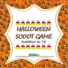 This is a fun game that will keep your young students moving as they learn their addition facts to 10.  You can also use it as a math center.  Fun candy corn manipulatives included.$  You can also get this in our Fun Fall Math Bundle.  #math #addition #TPT #teacherspayteachers #learning #teaching #education# game #manipulatives #Halloween