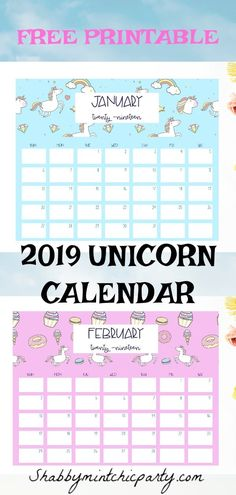 Plan out your magical 2019 with this unicorn calendar. Great for school, work, life!  #unicorn #2019calendar #calendarprintable #freeprintable #unicorncalendar