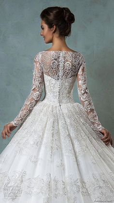 amelia sposa 2016 wedding dresses bateau neckline lace long sleeves beautiful ball gown wedding dress diana back closeup by MarylinJ 2016 Wedding Dresses, Wedding Attire, Bridal Dresses, Wedding Gowns, Bridesmaid Dresses, Dresses Elegant, Pretty Dresses, Beautiful Dresses, Dream Dress