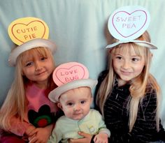 Conversation hearts hats made from paper plates (from Filth Wizardry on AlphaMom)