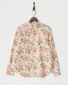 ピンク系 カーライン・シークレットLIBERTYフラワープリントシャツ - ヒューマンウーマン ブランド通販(セール)なら【グラムール セールス】