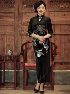 Women's Black Ankle-length Half-sleeve Cheongsam Dress - USD $ 295.00