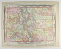 Colorado Map 1886 Antique Map New Mexico Southwestern Us Map Art Wedding Decor Prop Vintage Travel Gift Real 1800s Map Antique Maps Travel Gifts And