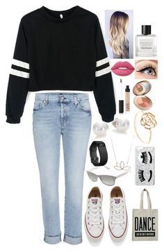 """Dance Like Nobody's Watching"" by awesomel4125 on Polyvore featuring 7 For All Mankind, Converse, Ambre & Louise, ALPHABET BAGS, Ray-Ban, Chiara Ferragni, Fitbit, Mikimoto, Nashelle and NARS Cosmetics"