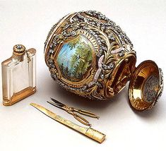 The Necessaire Egg, LOST. Last seen between 1949-1952. The picture shows a 17th C egg, but the lost one might look similar. It contained 13-piece gold manicure set, gold, diamonds, cabochon rubies, emeralds, a large coloured diamond at top and a cabochon sapphire at point, 1889. Presented by Alexander III to Tsarina Maria Fyodorovna.