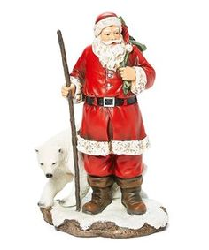 Bask in the magic of a traditional Christmas with this Santa with Polar Bear Figurine from Roman Inc. Nick is seen hiking his presents in the snow, accompanied by a friendly polar bear. Father Christmas, White Christmas, Christmas Time, Santa Figurines, New Today, Polar Bear, Red And White, Christmas Decorations, Christmas Central