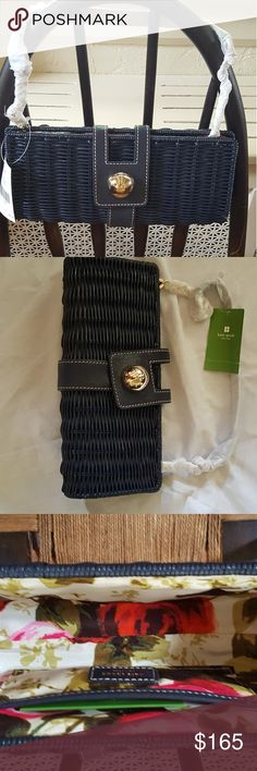 NWT Kate Spade Rattan clutch This was purchased at full price on the tag by me at Lord and Taylor it was never used and for some reason I stored it in a Brahmin bag but if a Kate Spade bag is important I will look. The bag has never been used and I am not negotiable on price. kate spade Bags