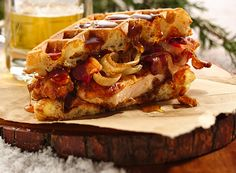 Fried Chicken n' Waffle Sandwich w/ bacon and maple burbon syrup.  I have a feeling Mason will be making this soon...