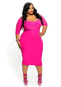 Plus Size BodyCon Dress with Open Shoulder and Ruffle Dark Red ...