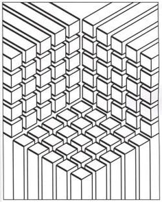 Illusion optic cubes - Optical Illusions (Op Art) Coloring Pages for Adults - Just Color - Page 2 Geometric Coloring Pages, Mandala Coloring, Printable Adult Coloring Pages, Coloring Book Pages, Coloring Sheets, Coloring Pages For Adults, Op Art, 3d Cuts, Line Art