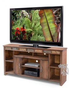 """Old West Re-Sawn Pine 75"""" TV Stand Console in Distressed Finish"""