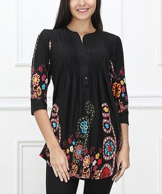 Black Garden Notch Neck Tunic  A notch neck brings polished shape to this thigh-brushing tunic, styled with a striking motif.   96% polyester / 4% spandex Vegan cruelty free  blouse top shirt boho flattering flowing gypsy peasant sexy classy elegant