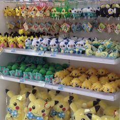Pokemon Plushes. Pikachu wearing a blue bow-tie! How cute!!!