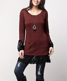 Brown Cable-Knit Lace Bell-Sleeve Tunic - Plus #zulily #zulilyfinds