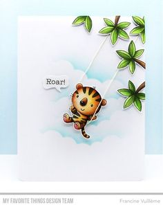 Card by Francine (www.1001cartes.ch) karte, carte, carterie, cardmaking, cardmaker,  crafts, papercrafts, handmade, diy, stamping, #1001cartes, mftstamps #mftstamps, jungle gym, fierce friend, liana, swing, scene, roar, copic coloring