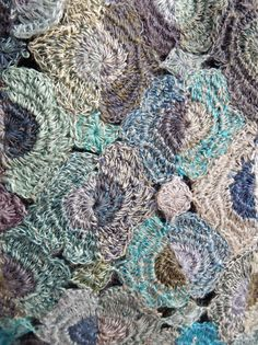 Hand crocheted scarf in moody blues.  From Sophie Digard.    6 x 40 inches.