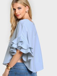 SheIn offers Pleated Ruffle Sleeve Dolphin Hem Top & more to fit your fashionable needs. Flutter Sleeve Top, Ruffle Sleeve, Ruffle Collar, Ruffle Blouse, Half Sleeves, Types Of Sleeves, Marvel Shirt, Pastel Fashion, Ladies Dress Design