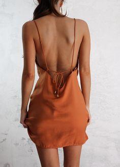 ANGELINA SLIP DRESS - RUST