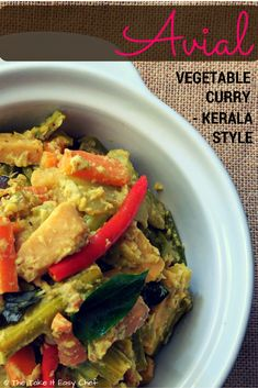 Avial (Aviyal/Kerala Mixed Vegetable Curry) If you have been to a traditional… Top Recipes, Indian Food Recipes, Kerala Recipes, Easy Recipes, Sweets Recipes, Amazing Recipes, Recipies, Cooking Recipes, Mixed Vegetable Curry Recipe
