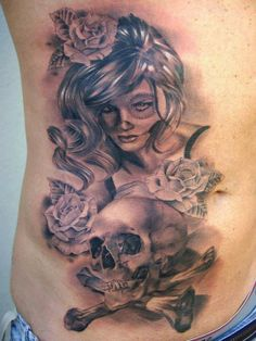 By Miguel Angel Bohigues... love the traditional tattoo style with the Day of the Dead mixed in.