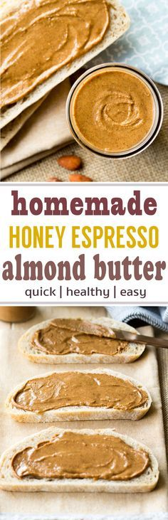Homemade Honey Espresso Almond Butter - it only takes minutes to make this delicious nut butter! A perfect homemade almond butter for your breakfast toast. #breakfast #almondbutter #espresso
