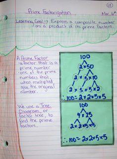prime factors interactive math journal