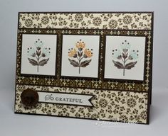 handmade card ... Freshly Made Sketch #76 - Grateful Trio ...luv how the patterned papers and the three stamped images go together ... Stampin' Up!