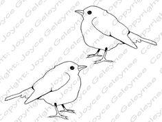 Digi Stamp Clip Art Bird Original Freehand Drawing by JoyfulArtImages, $2.00. Instant Download!