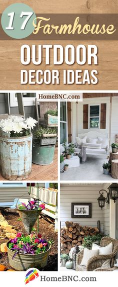 17 Heartwarming Farmhouse Outdoor Decor Ideas that will Make Your Exterior Unforgettable is part of Farmhouse decor Outdoor - Farmhouse outdoor decor ideas for effortless exterior style See the best designs and add unforgettable charm to your home! Farmhouse Outdoor Decor, Farmhouse Landscaping, Farmhouse Garden, Farmhouse Design, Rustic Decor, Farmhouse Style, Rustic Farmhouse, Outdoor Landscaping, Farmhouse Ideas