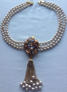 Vtg Miriam Haskell Signed 3 Strand Pearl Blue Glass Bead Pendant Necklace | eBay