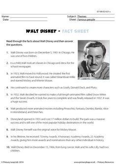 PrimaryLeap.co.uk - Reading comprehension - Walt Disney Worksheet