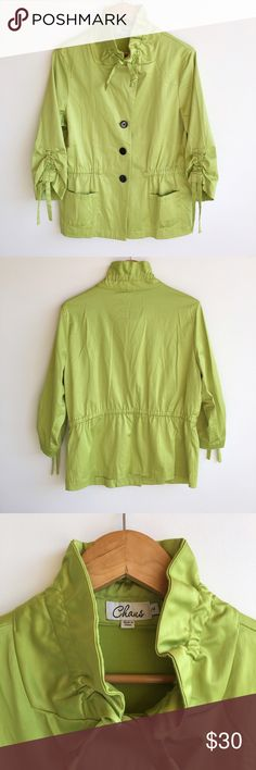 """Chaus Lime Green Jacket Stylish and super cute Chaus jacket.  Color: Lime Green.  Condition: Excellent used condition.  Size: 14.  Two Front pockets.  Fabric Content: shell 53% Cotton, 44% Polyester, 3% spandex. Lining: 100% Polyester.  Measurements: Bust approximately 21"""" across. Length 30"""". Sleeve length 19"""". Chaus Jackets & Coats Blazers"""