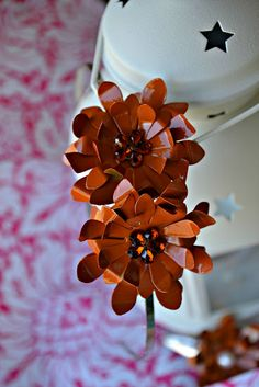 Metal Flower Hair Clip - made with flower cutouts from soda cans :)