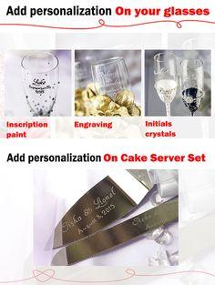 IVORY /GOLD cake knife and server  & wedding glasses / LACE