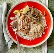 Grilled Redfish with Onions - Moveable Feast Recipe - FineCooking Grilled Fish Recipes, Healthy Grilling Recipes, Entree Recipes, Healthy Dishes, Seafood Recipes, Cooking Recipes, Redfish Recipes, Fisher, Onion Recipes