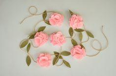 Items similar to Pink Rose Garland - Felt Flower Garland - Wedding Ceremony Backdrop - Nursery Floral Decor on Etsy Flower Garland Wedding, Rose Garland, Greenery Garland, Floral Garland, Flower Garlands, Paper Garlands, Wedding Reception Chairs, Wedding Ceremony Backdrop, The Giver