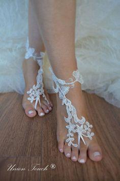 Free Ship Beach wedding barefoot sandals Beach shoes, bridal sandals, lace sandals, wedding bridal, ivory accessories, summer wear