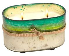 Green Distressed Oval Glass Mint Orange Scented Candle - 4''
