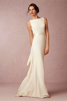 BHLDN Valentina Gown with Sheer Elegance - 20 Best Choices of Sheath Wedding Dress - EverAfterGuide
