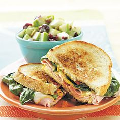Grilled Ham, Muenster, and Spinach Sandwiches | CookingLight.com