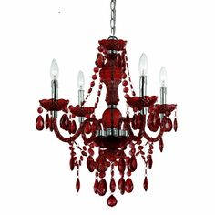 Four Light Candlestick Style Red Chandelier